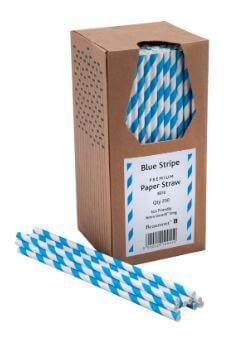 Bionedbrydende-Papir-Sugerør-Blå-og-hvide-250-stk