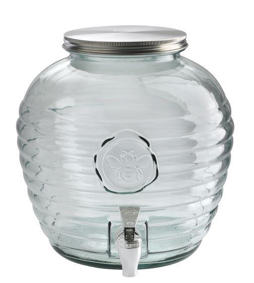 Buttede-Juice-Dispencer-med-tappehane-riller-8-Liter-glas-skruelåg