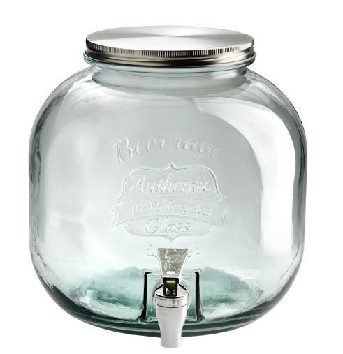 Buttede-Juice-Dispencer-med-tappehane-rund-6-Liter-glas-beholder
