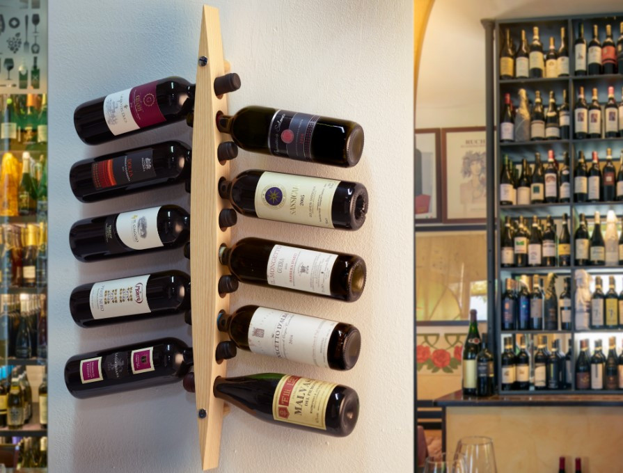 Legnoart-Enoteca-vinreol-til-væg-montering-Mørk-10-flasker