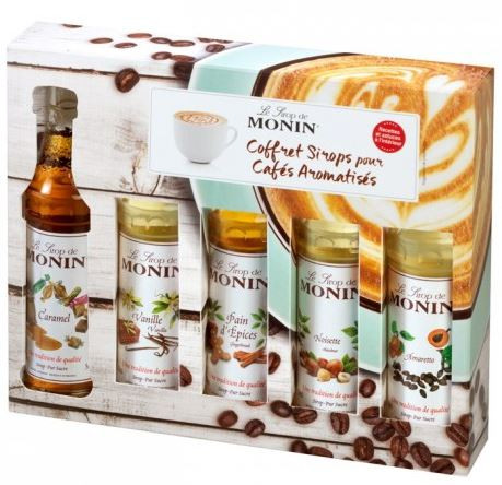 monin-mini-flasker-coffee-kaffe-sirup-syrup-sæt-set-amaretto-hasselnød-gingerbread-vanillje-karamel
