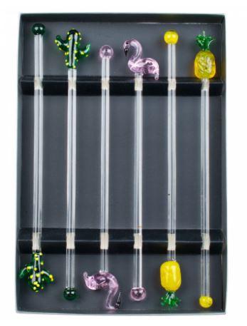 omrøringspinde-til-drinks-i-glas-tropical-flamingo-kaktus-ananas-mixmeister-dk-glas-kunst