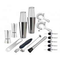 Barsæt-xxl-barudstyrspakke-med-kvalitets-værktøj-morter-boston-shaker-speed-opener-strainer-barske-peeler-free-flow-skænkeprop-jigger-Mixmeister