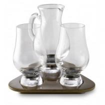 2 Glencairn whisky glas med kande og serverings bræt