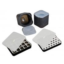 Lurch-isterninge-bakke-sort-silikone-med-låg-sæt-runde-firkantet-3x3-ø2-ø6