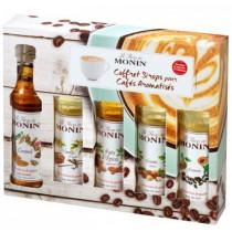 monin-mini-flasker-coffee-kaffe-sirup-syrup-sæt-set-amaretto-hasselnød-gingerbread-vanillje-karamel