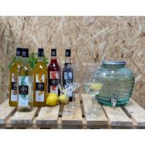 Dispenser-med-4-cocktailglas-og-valgfri-1883-Routin-sirup-1-liter