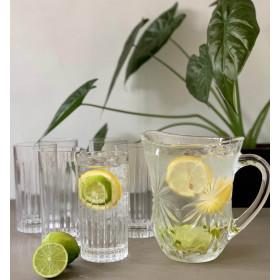 Sommer lemonade sæt med 6 drikkeglas, lemonadekande og en valgfri 1883 Routin sirup 1 liter