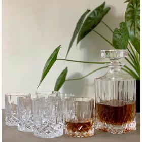 6 whiskey glas med whiskey dekanter