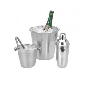 Barsæt med cocktail shaker, champagnekøler, istang og isspand