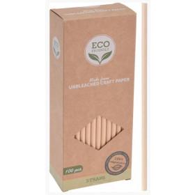 Beige sugerør i kraftig bionedbrydeligt papir 19,5 cm - 100 stk.