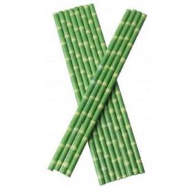 Bionedbrydende Papir Sugerør 0,6 x 21 cm Bambus Look - 100 stk.