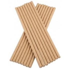 Bionedbrydende beige kraftig papirsugerør 23 cm - 100 stk.