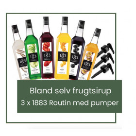 Bland selv frugtsirup - 3 x 1 liter 1883 Routinmed pumper