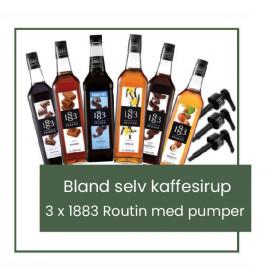 Bland selv kaffesirup - 3 x 1 liter 1883 Routin med pumper