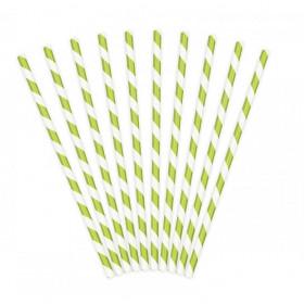 Bionedbrydende grøn og hvid papirsugerør 19,5 cm - 50 stk