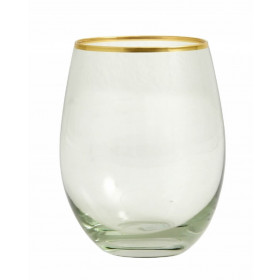 Nordal greena drikkeglas med guldkant