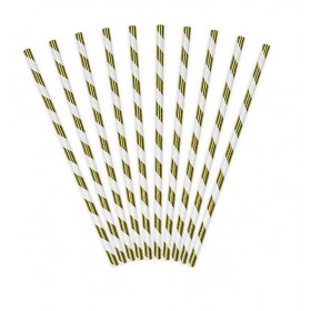 Bionedbrydende guld og hvid papirsugerør 19,5 cm - 50 stk