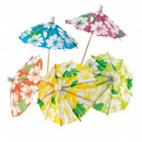 Drinkspynt Hawaii Parasoller i blandede farver - 24 stk.