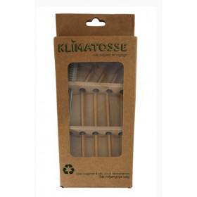 Gule glassugerør med knæk og rengøringsbørste - 4 stk.