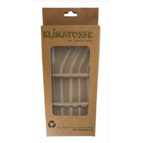 Glassugerør med knæk og rengørings børste - 4 stk.