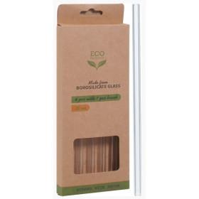 Miljøvenlige glassugerør med rengøringsbørste 20 cm. - 4 stk.