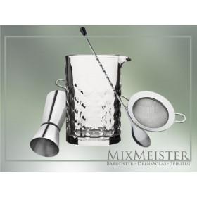 Barsæt med mixing glas, jigger, fine strainer og barske