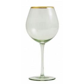 Nordal greena vinglas med guldkant