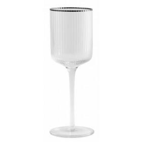 Nordal Rilly hvidvinsglas med sølv kant