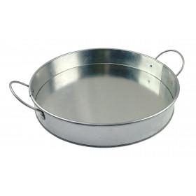 Rustik rund anretning og serverings bakke - Krom