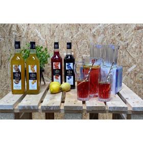 Sommer lemonade sæt med 12 drikkeglas, kande og 1 valgfri 1883 Routin sirup 1 liter