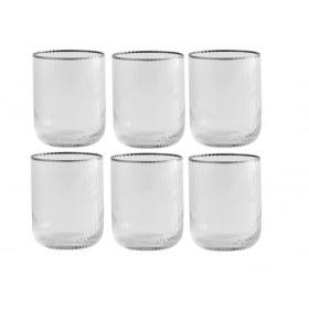 6 Nordal Rilly vandglas med sølv kant