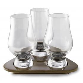 3 Glencairn Whisky glas på bakke af træ - Gavesæt