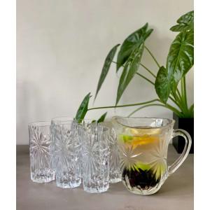 Sommer lemonade sæt med 6 drikkeglas, saft kande og en valgfri 1883 Routin sirup 1 liter