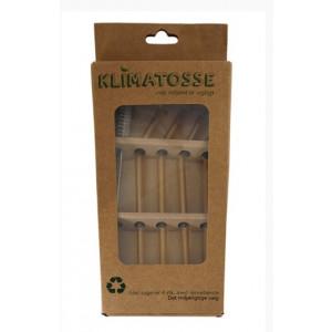 Gule glassugerør med knæk og rengørings børste - 4 stk.